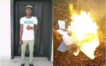 Frustrated Nigerian graduate burns certificates