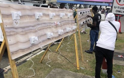 Protesters get solar- powered charging points for devices in Lagos