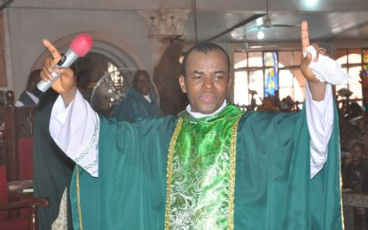 BREAKING:  Hoodlums set Father Mbaka's Adoration Ministry on fire